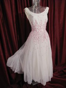 1990's Contemporary 'vintage style' white tulle wedding dress